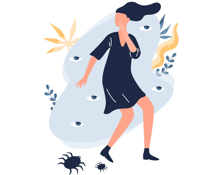illustration of girl afraid of spider - treatment