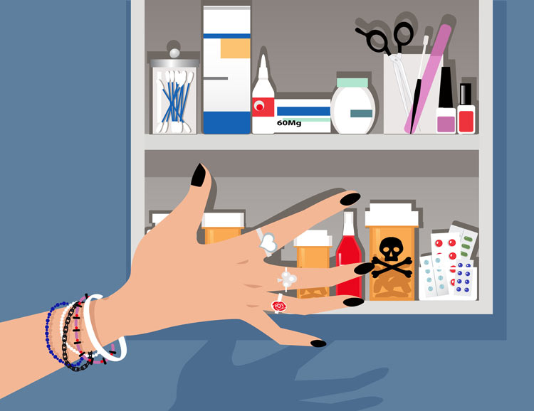illustration of teenage girls hand and arm reaching for prescription bottle in the medicine cabinet - substances